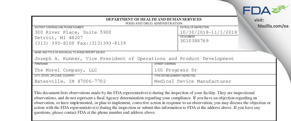 The Morel Company FDA inspection 483 Nov 2018