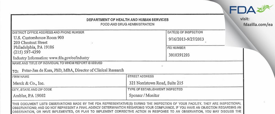 Merck & FDA inspection 483 Sep 2013