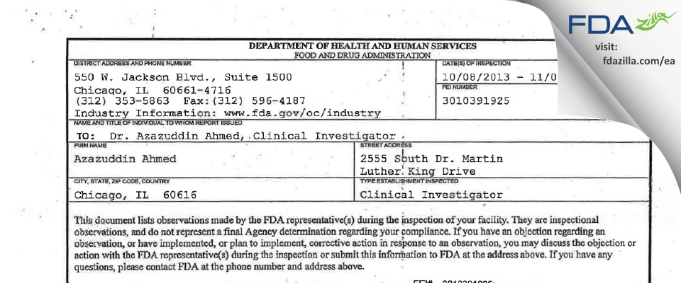 Azazuddin A. Ahmed, MD FDA inspection 483 Nov 2013