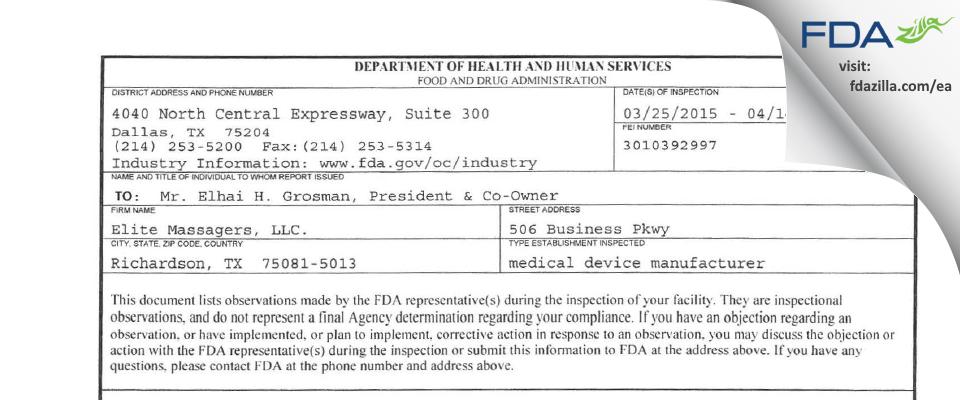 Elite Massagers. FDA inspection 483 Apr 2015