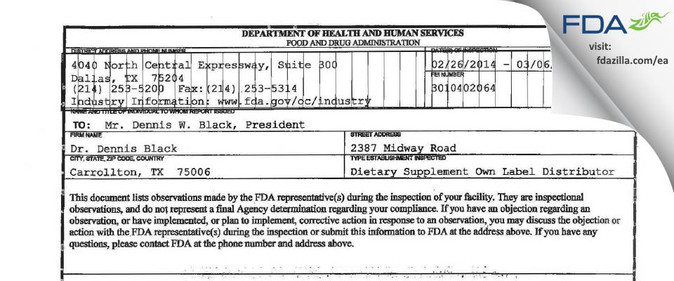 Dr. Dennis Black FDA inspection 483 Mar 2014