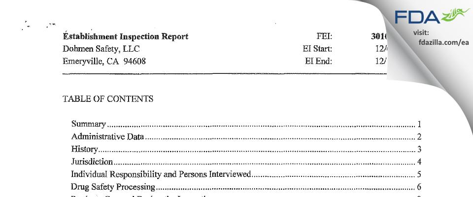 Dohmen Safety FDA inspection 483 Dec 2013