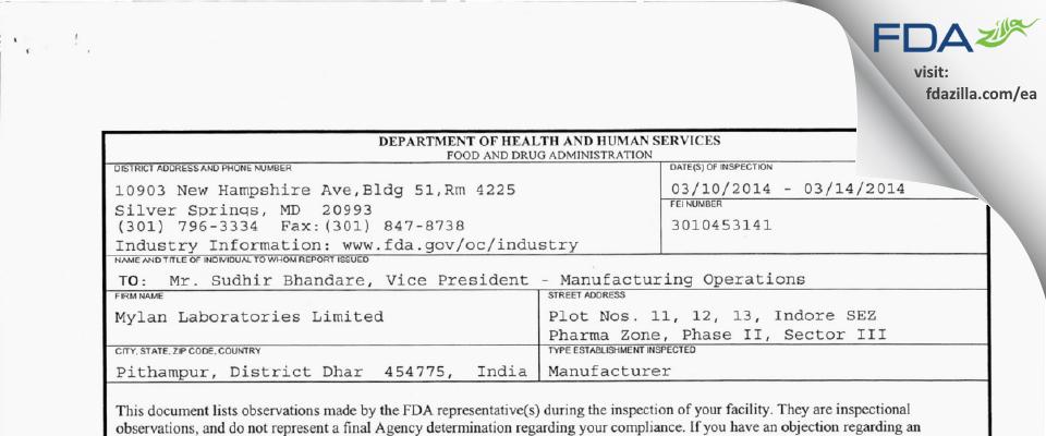 Mylan Labs FDA inspection 483 Mar 2014