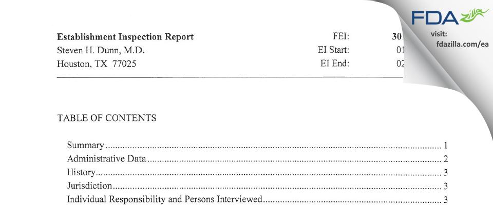 Steven H. Dunn, M.D. FDA inspection 483 Feb 2014