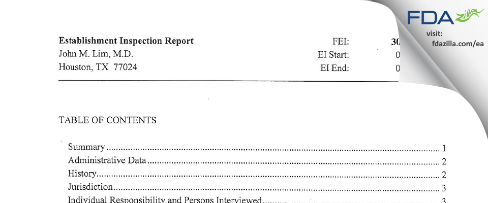 John M. Lim, M.D. FDA inspection 483 Feb 2014
