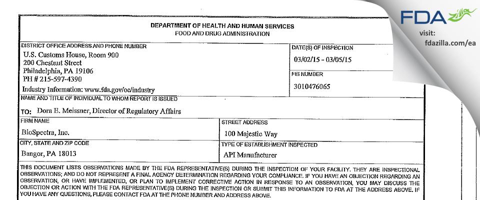 BioSpectra FDA inspection 483 Mar 2015