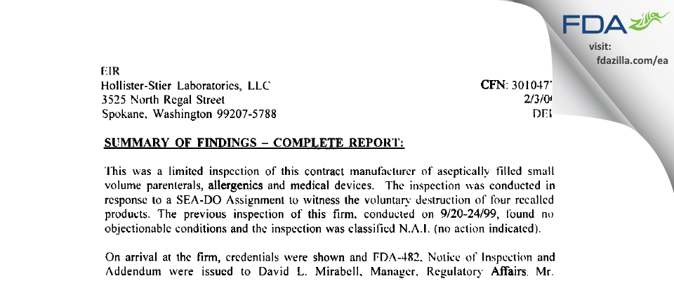 Jubilant HollisterStier FDA inspection 483 Feb 2000
