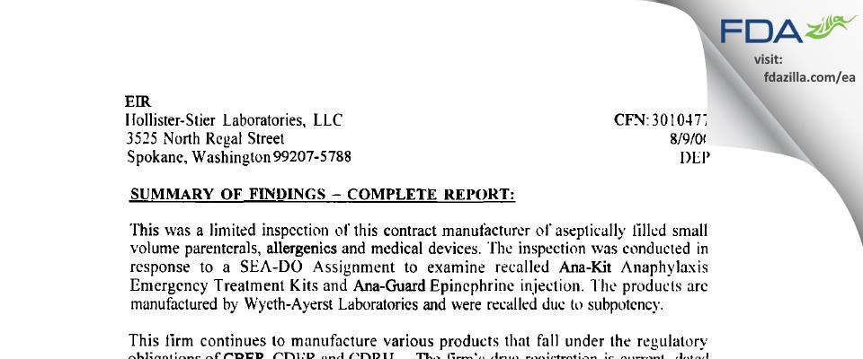 Jubilant HollisterStier FDA inspection 483 Aug 2000