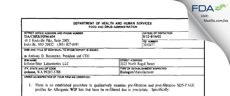 Jubilant HollisterStier FDA inspection 483 Aug 2002