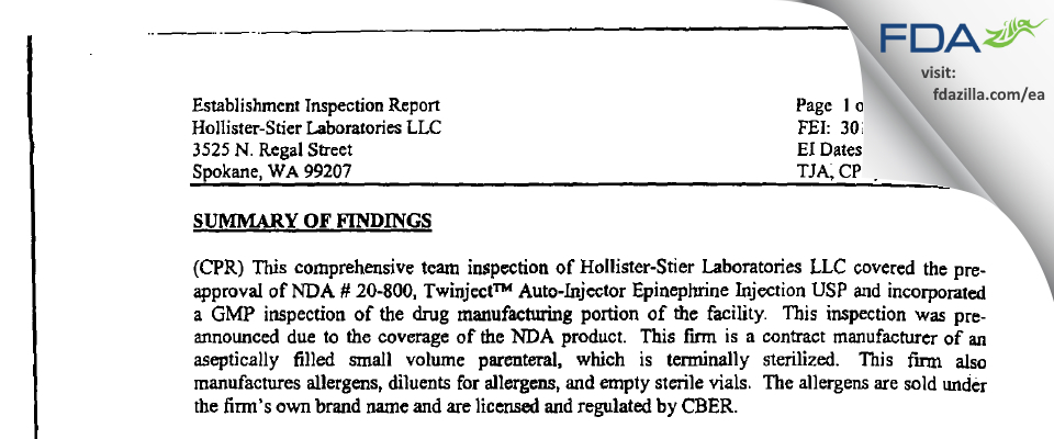 Jubilant HollisterStier FDA inspection 483 Jan 2003