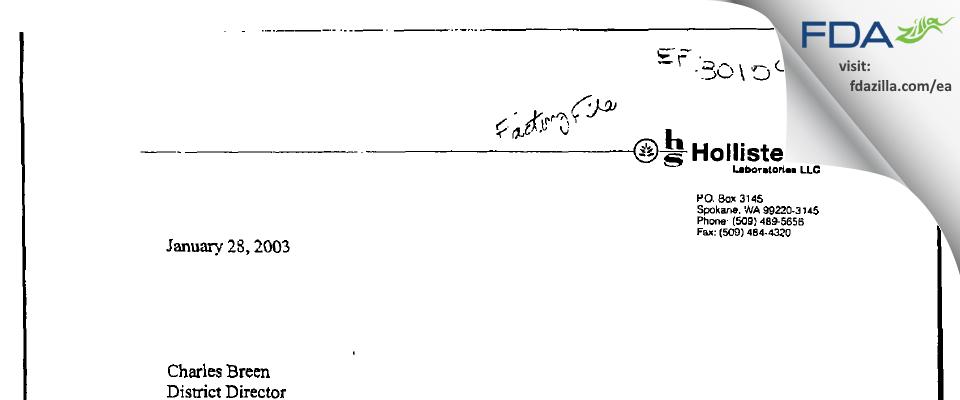 Jubilant HollisterStier FDA inspection 483 Jan 2003