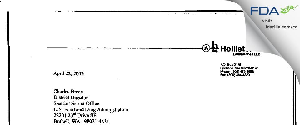 Jubilant HollisterStier FDA inspection 483 Apr 2003