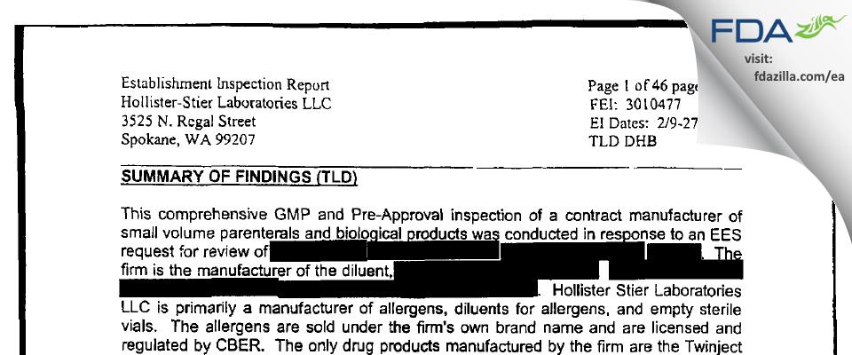 Jubilant HollisterStier FDA inspection 483 Feb 2004