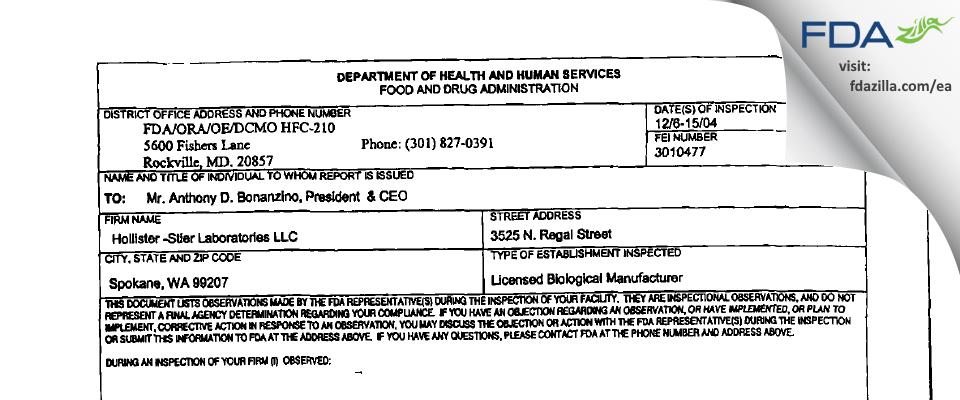 Jubilant HollisterStier FDA inspection 483 Dec 2004