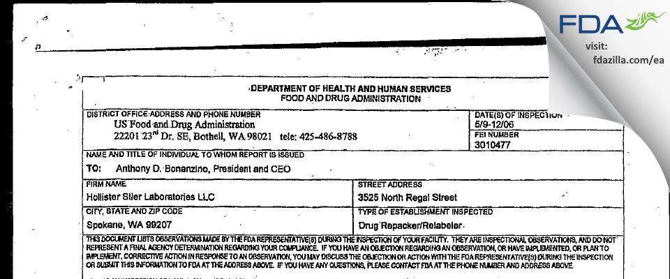 Jubilant HollisterStier FDA inspection 483 May 2006