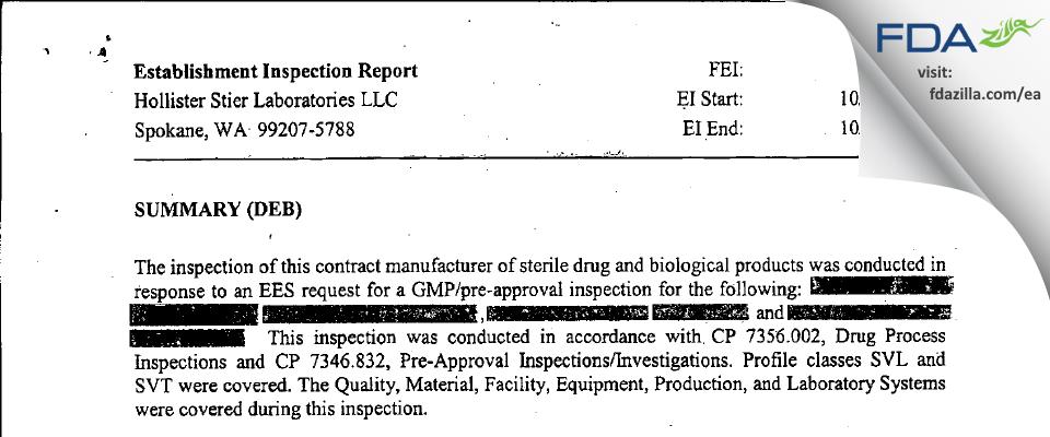 Jubilant HollisterStier FDA inspection 483 Oct 2006