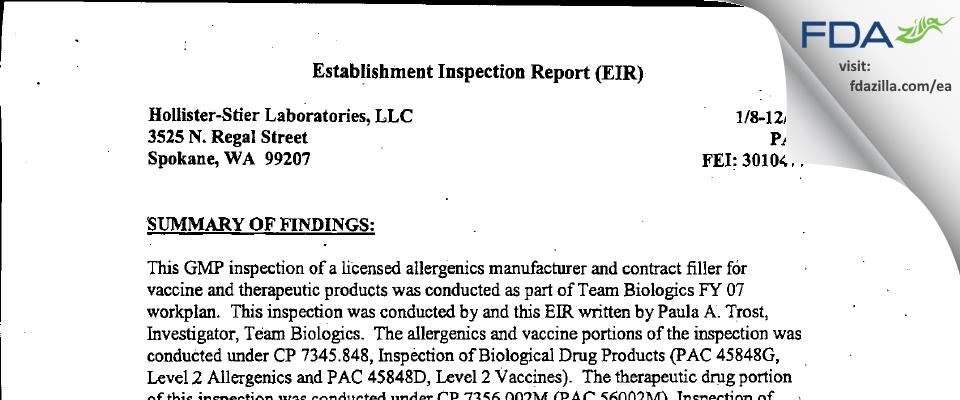 Jubilant HollisterStier FDA inspection 483 Jan 2007