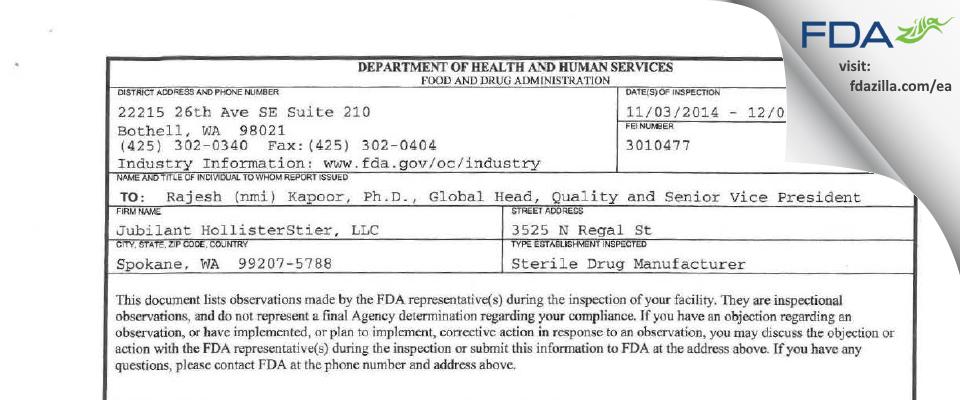 Jubilant HollisterStier FDA inspection 483 Dec 2014