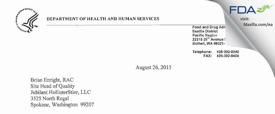 Jubilant HollisterStier FDA inspection 483 Jul 2015