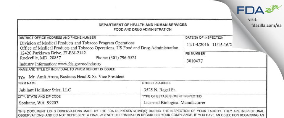 Jubilant HollisterStier FDA inspection 483 Nov 2016
