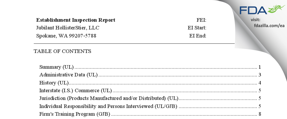 Jubilant HollisterStier FDA inspection 483 Sep 2017