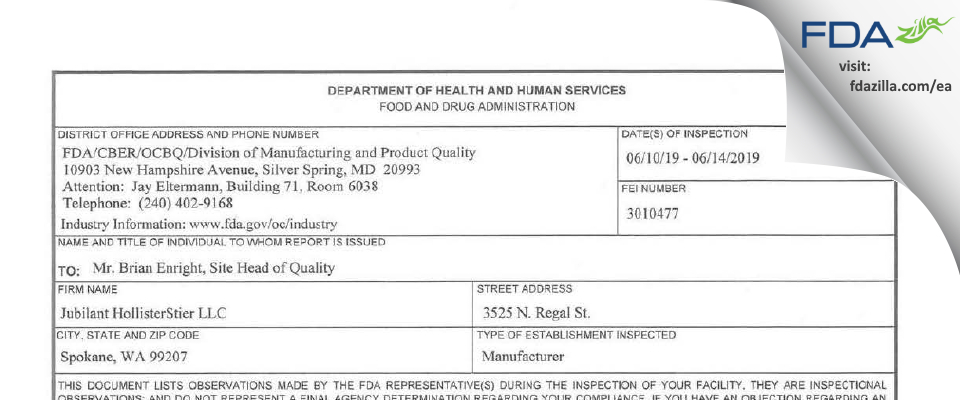 Jubilant HollisterStier FDA inspection 483 Jun 2019