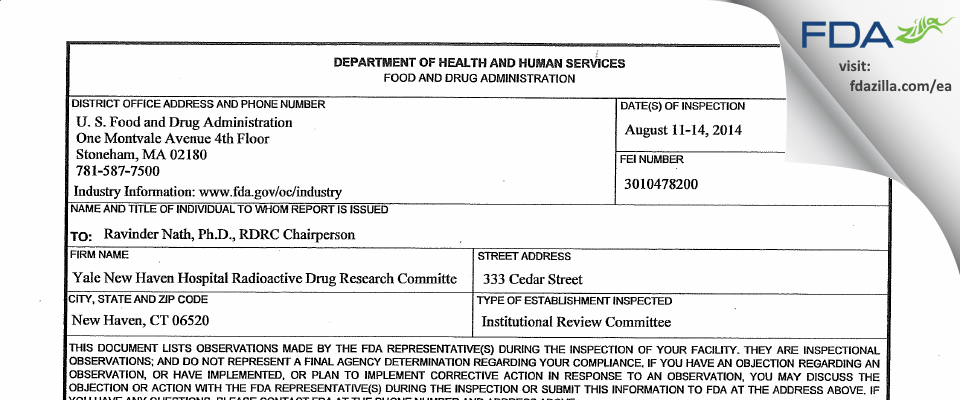 Yale New Haven Hospital Radioactive Drug Research Committee FDA inspection 483 Aug 2014