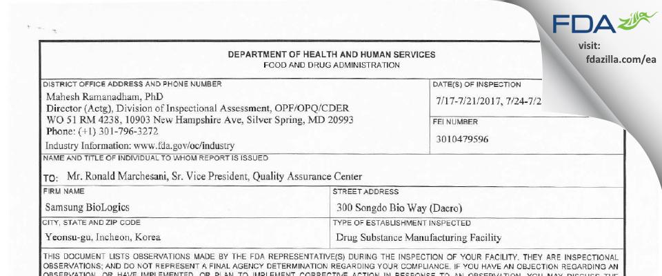 Samsung Biologics FDA inspection 483 Jul 2017