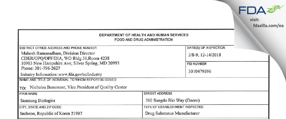 Samsung Biologics FDA inspection 483 Mar 2018