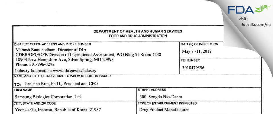 Samsung Biologics FDA inspection 483 May 2018
