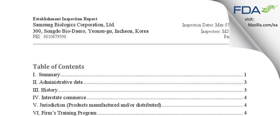 Samsung Biologics FDA inspection 483 May 2018