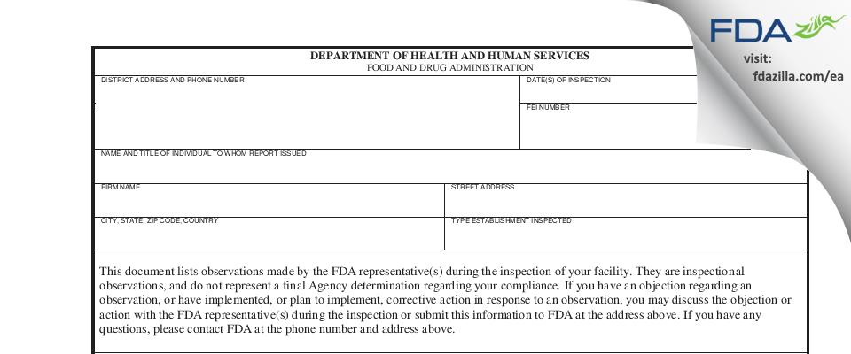 Pharmatech FDA inspection 483 Aug 2018