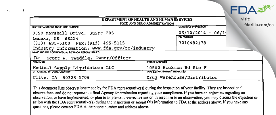 Medical Supply Liquidators FDA inspection 483 Jun 2014