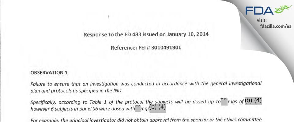 Cadila Healthcare FDA inspection 483 Jan 2014