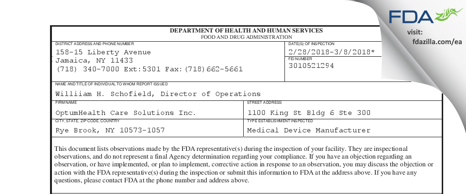 OptumHealth Care Solutions FDA inspection 483 Mar 2018