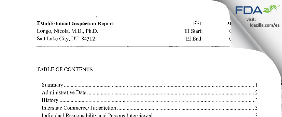 Nicola Longo, M.D., Ph.D. FDA inspection 483 Jan 2014
