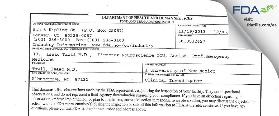 Tawil, Isaac M.D. FDA inspection 483 Dec 2013