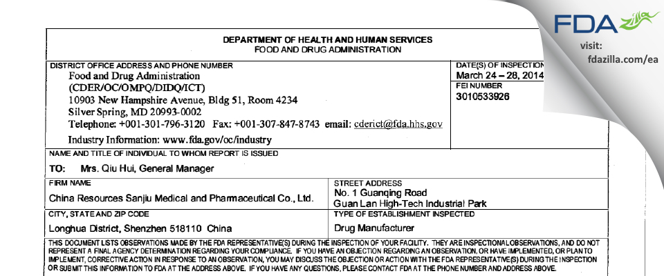 China Resources Sanjiu Medical and Pharmaceutical FDA inspection 483 Mar 2014