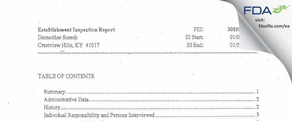 Damodhar Suresh FDA inspection 483 Jan 2014