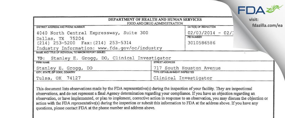 Stanley E. Grogg, DO FDA inspection 483 Feb 2014