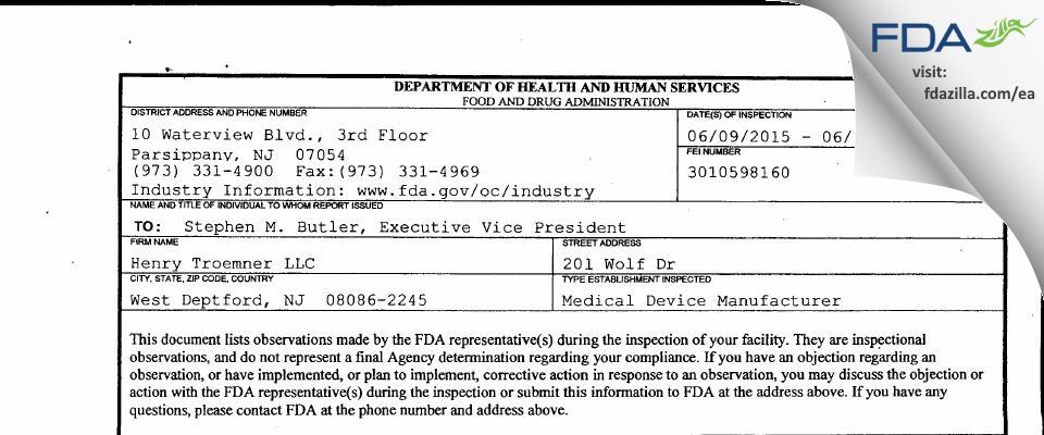 Henry Troemner FDA inspection 483 Jun 2015