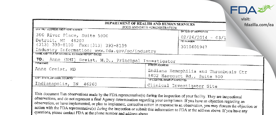 Anne Greist, MD FDA inspection 483 Mar 2014
