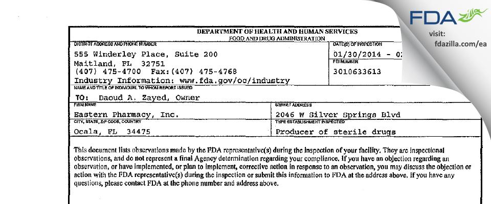 Eastern Pharmacy FDA inspection 483 Feb 2014