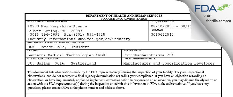 Lanterna Medical Technologies GMBH FDA inspection 483 Aug 2015