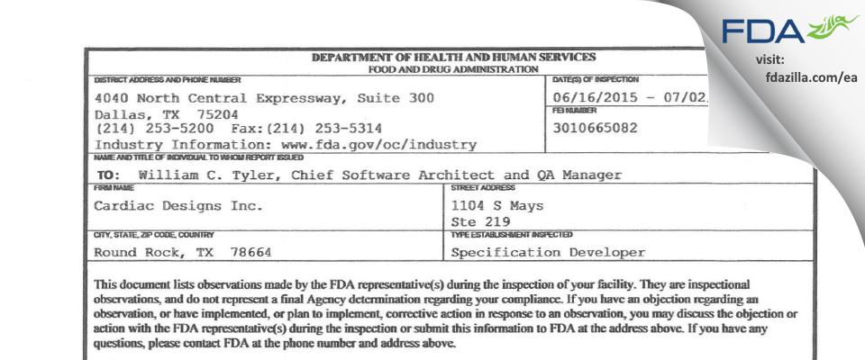Cardiac Designs FDA inspection 483 Jul 2015