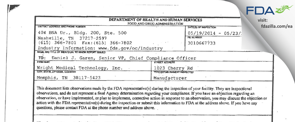 Wright Medical Technology FDA inspection 483 May 2014