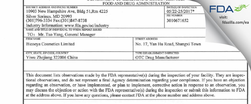 Bicooya Cosmetics FDA inspection 483 May 2017