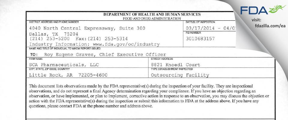 SCA Pharmaceuticals FDA inspection 483 Apr 2014