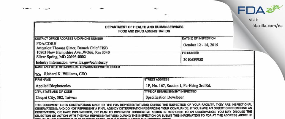 Applied BioPhotonics FDA inspection 483 Oct 2015