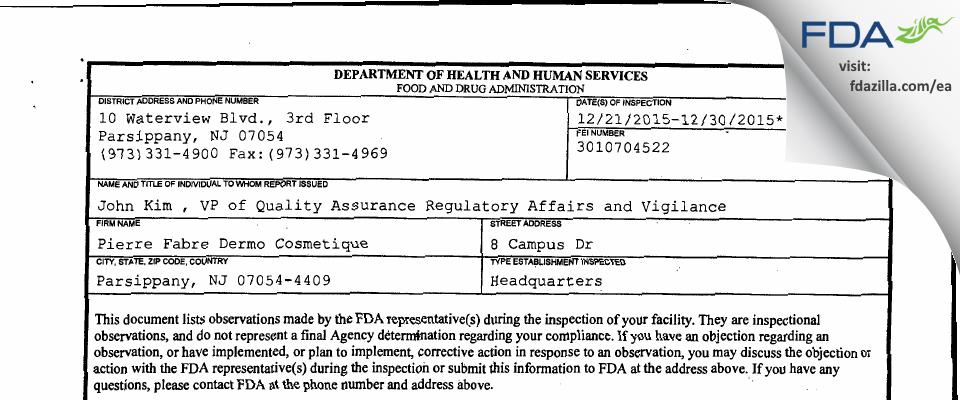 Pierre Fabre Dermo Cosmetique FDA inspection 483 Dec 2015